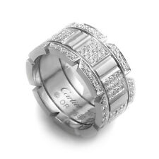 Estate Cartier Tank Francaise 18K White Gold Diamond Pave Ring