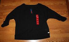 NWT Womens TOMMY HILFIGER SPORT Black Roll Sleeve Sweater Sz XXL 2XL $49