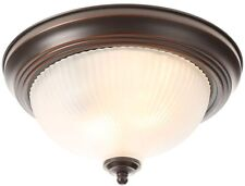 Hampton Bay 2 Light Oil Rubbed Bronze Flushmount Frosted Glass Dome Bedroom Lamp