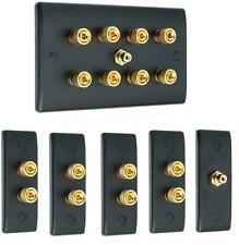 Matt Black 4.1 Slimline Surround Sound Audio AV Speaker Wall Face Plate Kit