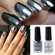 2 Bottles/Set Silver Metal Mirror Effect Nail Art Polish Varnish & Base Coat DIY