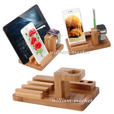 Bamboo Charging Dock Station Stand Holder For Apple Watch iPhone 7 7 Plus i Pad