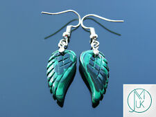 Malachite Angel Wing Manmade Gemstone Earrings Quartz