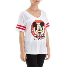 Disney Mickey Mouse Varsity Striped T-Shirt - Women's Junior Size Large NEW