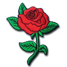 Red Rose Patch Iron on Rockabilly Punk custom Retro Kitsch Goth Applique