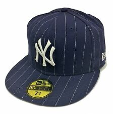 NEW ERA 59Fifty New York Yankees Navy White Pinstripe Fitted Cap Size 7 5/8 3D