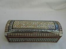 "Egyptian Treasure Inlaid Mother of Pearl Desk Wood Pen Holder Box 7"" #229"