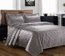 3 Piece Silky Satin Gray Quilted Bedspread Coverlet Set Queen Size