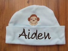 """PERSONALIZED """"AIDEN"""" Baby Beanie Hospital Hat with Monkey Brand new! 0-3 months"""