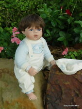Retired Virginia Turner Cradle Baby Billy Brunette with Blue Eyes 18 Inches