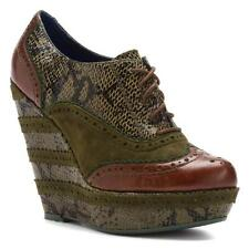 POETIC LICENCE Shoes  Bootie 6 OR 8 WILD SAFARI Oxford Platform Wedge Pump Green