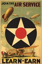 join the AIR SERVICE vintage war poster LEARN - EARN military bi-plane 24X36