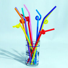 100PCS Colorful Cocktail Drinking Party Extra Long Flexible Drinking Bendy Straw