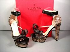 Valentino Black Lace Big Bow Ankle Strap Evening Platform Sandals Shoes 37/7 New