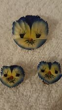 Vintage Hand Painted Celluloid Pansy Viola Violet Flower Brooch Pin Earrings Set