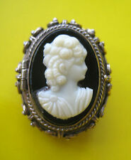ESTATE STERLING SILVER CAMEO BROOCH PIN LOCKET