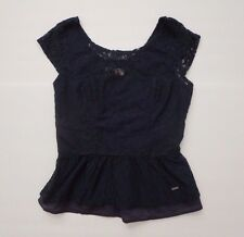 NWT Hollister Womens Lace Peplum Top Size 3 Small Shirt Blouse Navy Blue