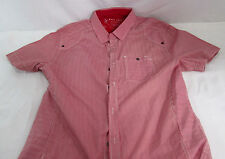 Marc Ecko Red White Striped Shirt Size Large 100% Cotton Collar Deadly Threads