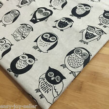 50x150cm Cotton Linen Fabric ZAKKA DIY Home Deco & Bag Black Owl White Bottom E