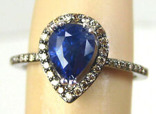 Blue Sapphire Ring Pave Halo 1.85ct 14K white gold CERTIFIED NATURAL FREE Apprai