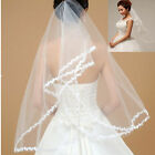 New 2T white/Ivory Wedding Bridal Veil Elbow Length Satin Edge