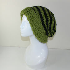 PRINTED  INSTRUCTIONS - EXTRA ROOMY STRIPE BIG BEANIE HAT KNITTING PATTERN