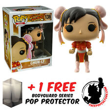 FUNKO POP STREET FIGHTER CHUN LI RED P2 EXCLUSIVE + FREE POP PROTECTOR