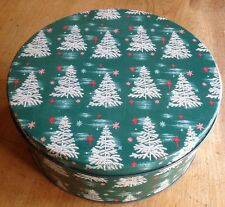 VTG CHRISTMAS COOKIE TIN Feather Tree Starburst Litho Candy VIVID Colors EVC