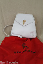 *ROBERTA DI CAMERINO* VINTAGE BACK PACK WHITE LEATHER GOLD HARDWARE