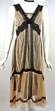 NWT Nataya Beige Black Lace Formal Steampunk Downtown abbey Prom Dress S Gatsby