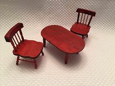 Set 3 Table Chairs Doll House Furniture Greenbrier International Wood 1:12