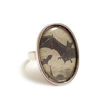 Vampire bats gothic ring silver adjustable Halloween bat Dracula goth wings