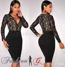 Lady Women Black Midi Dress Celeb Bodycon Party Pencil Evening Size New 12 14 16