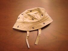 Janie and Jack Boys Bucket Sun Hat Anchor with straps 0- 6 M  Baby Nautical