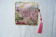 Chinese Style Pink Silk Embroidery Coin Women Purse Wallet Elegant Pattern