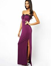 Superbe lipsy maxi moulante diamonte taille 8 robe longue vip mariage fête violet