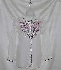 Bob Mackie Long Sleeve Embroidered Blossom Time Blouse Size S White