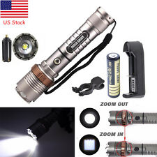 4000LM Zoom Tactical Flashlight XM-L T6 LED Torch Lamp+18650Battery+Charger