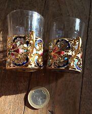 2 GLASS 1900 ENAMEL BACCARAT ART NOUVEAU GOUT RUSSE 2Verres Monture Email Laiton