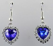 BNWOT attractive Blue heart earrings surrounded with imitation 'diamonds'