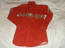 Men's PANHANDLE SLIM Long Sleeve Pearl Snap Western Shirt Small S Rodeo Cotton