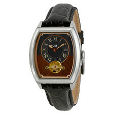 Fossil Narrator Automatic Black and Wood Dial Black Leather Mens Watch ME3047