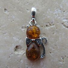 Natural, Cognac / Brown, BALTIC AMBER Cat / Kitty Pendant, STERLING SILVER #1671