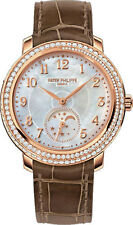 Patek Philippe Complications Mother Of Pearl Dial Taupe Leather Ladies Watch