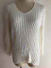Gap V-Neck Ribbed Knit Cotton Top White Size XL NWT