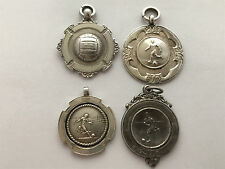 Four Sterling Silver Football Fob Medals