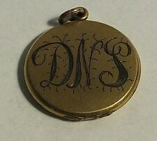 Antique Beautiful Yellow Gold Filled Round Monogramed DNS Photo Locket