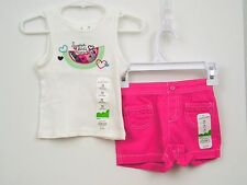 Girls Summer Top/Shorts Outfit Sz 12 months Pink Watermelon Jumping Beans NWT