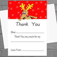 Christmas Thank You Notes x 20 A5 with envelopes - Red Nose Reindeer H1501