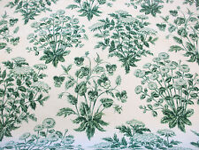 """Ivory & Green Vintage Floral """"Nature Walk""""  Printed 100% Cotton Curtain Fabric"""